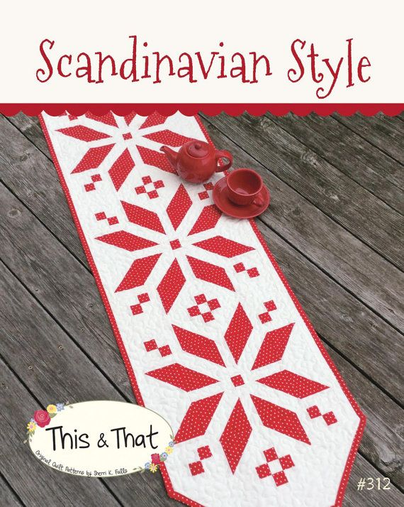 Pattern Scandinavian Style Christmas Snowflake Quilted Table Runner Fair Isle Quilt Pattern Snowflake Quilt Christmas Table Runner Pattern