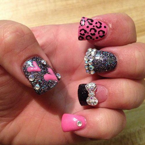 Rhinestone Cheetah Nail Designs Jpg 500 500 Nails Design With Rhinestones Rhinestone Nails Cheetah Nail Designs