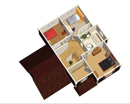 Plan 80535PM Traditional TwoStory House Plan 3d Master bedroom
