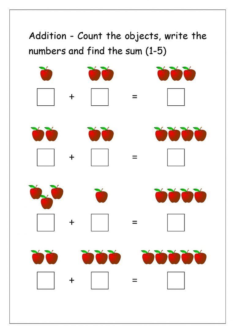 Pin On Prek Math Addition objects worksheets kindergarten
