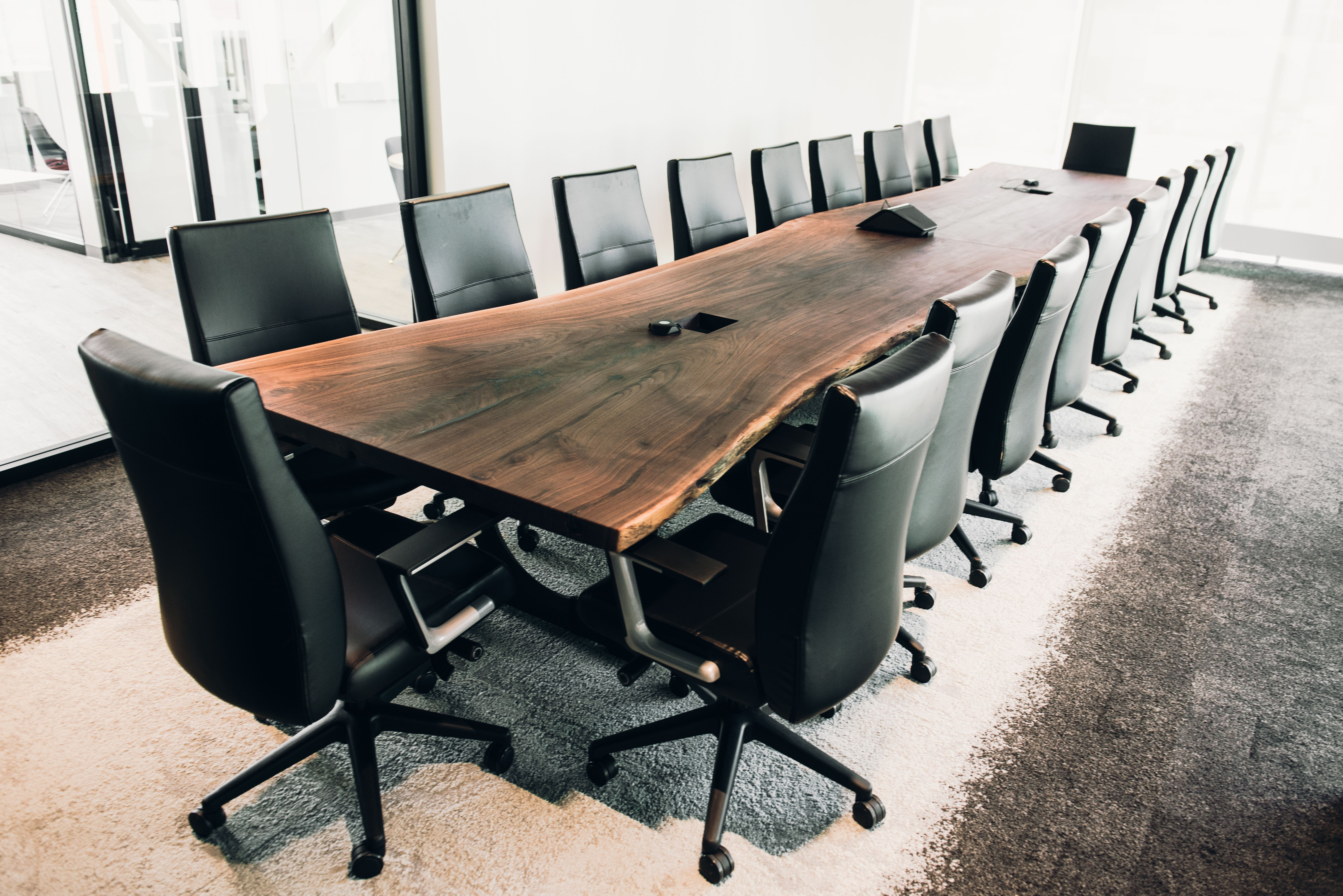 20 Live Edge Walnut Conference Table Black Leather Chairs