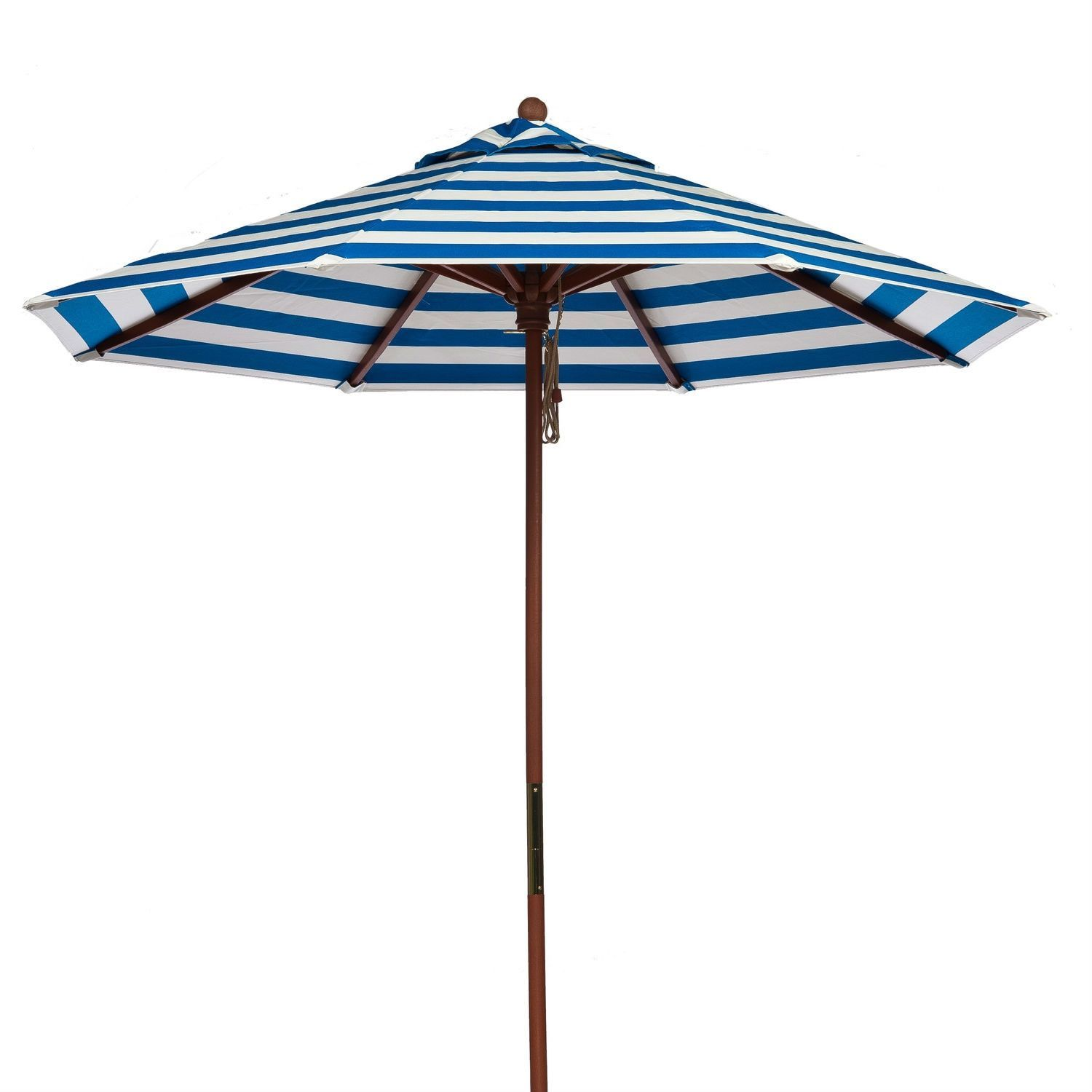 9-ft Blue And White Stripe Market Umbrella With Wood Pole
