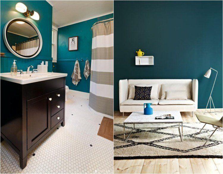 peinture-murale-couleur-sarcelle-salle-bains-salon Idées de - Peindre Carrelage Salle De Bains