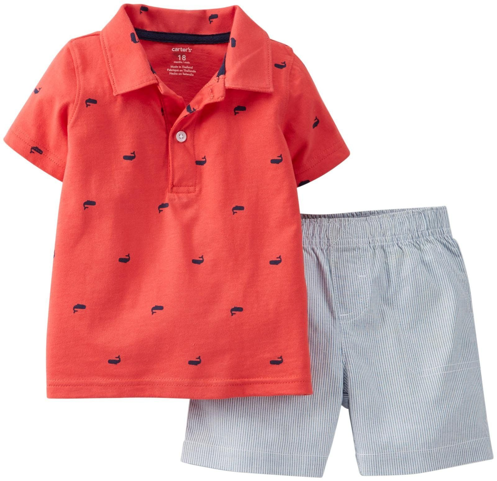 Carters 2 Piece Striped Short Set Baby Red 18 Months