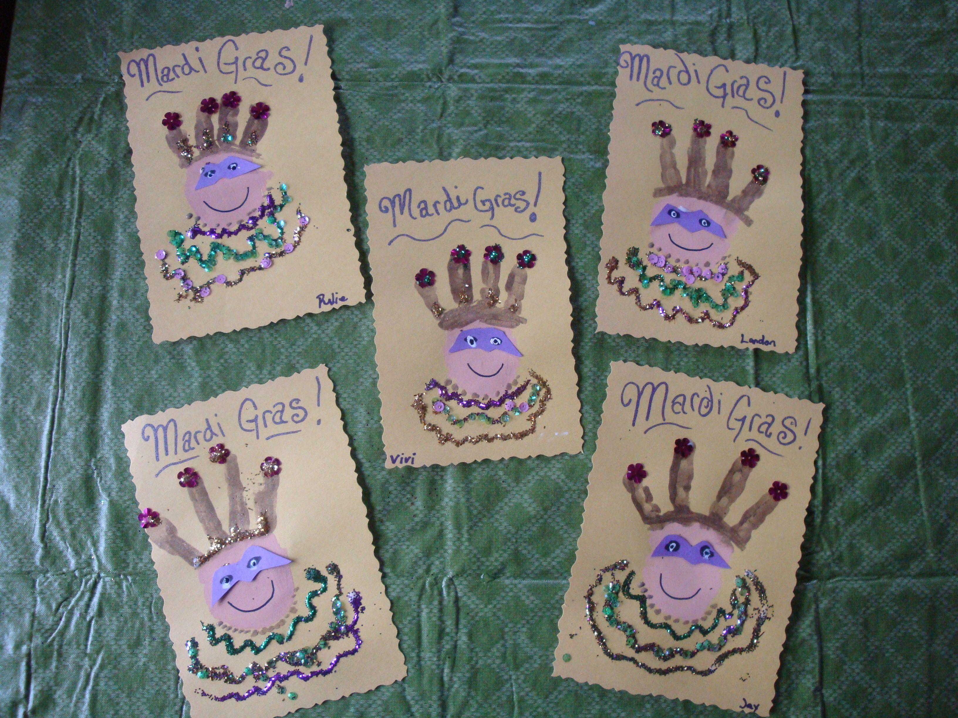 Mardi Gras King Of The Carnival Handprints Mardi Gras Kid Mardi Gras Activities Mardi Gras Carnival