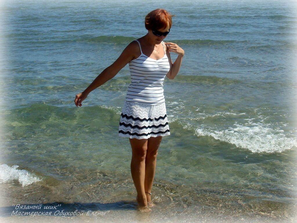 """Купить Юбочка """"Зигзаги"""" - чёрно-белый, в полоску, пляжная мода, отдых на море, пляжная юбка"""