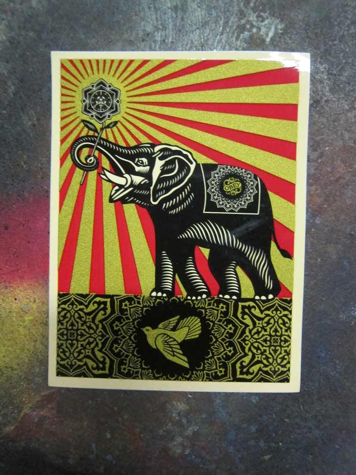 Obey giant elephant via stickerobot