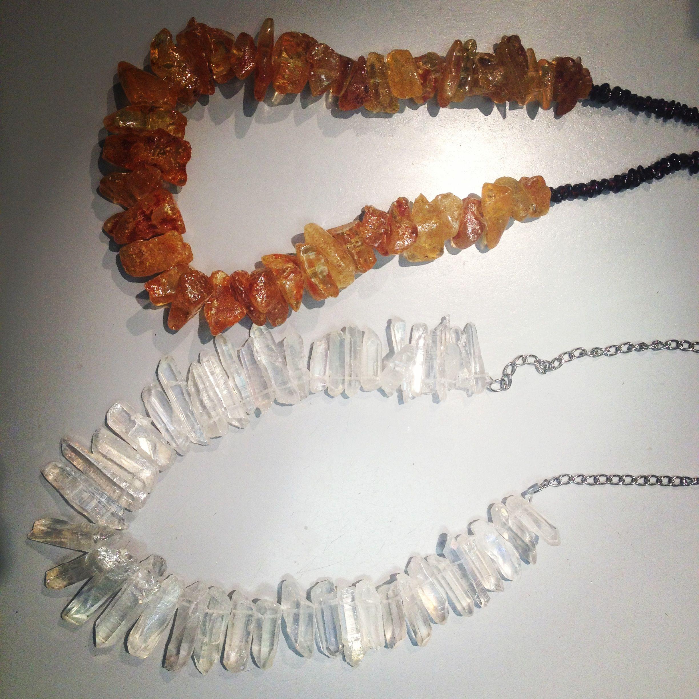 Amber and garnet necklace, crystal quartz necklace