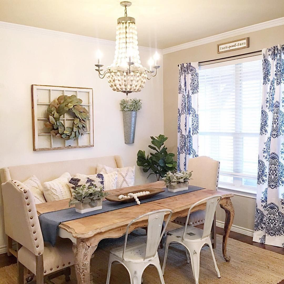 Farmhouse Living Room Curtains Decor Ideas Pin By The Downtown Aly On The Downtown A In 2020 Farmhouse Dining Room Table Dining Room Table Decor Farm House Living Room