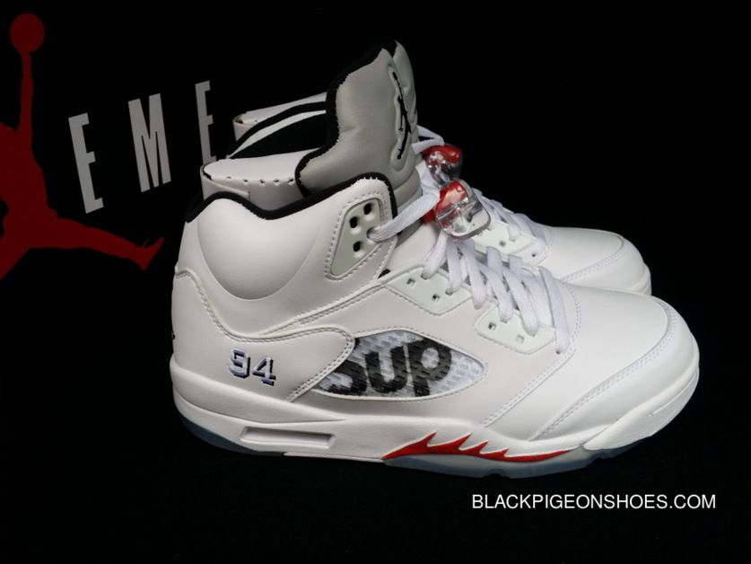 44a718736616e8 Women Men Supreme X Air Jordan 5 White And Fire Red-Black Latest ...