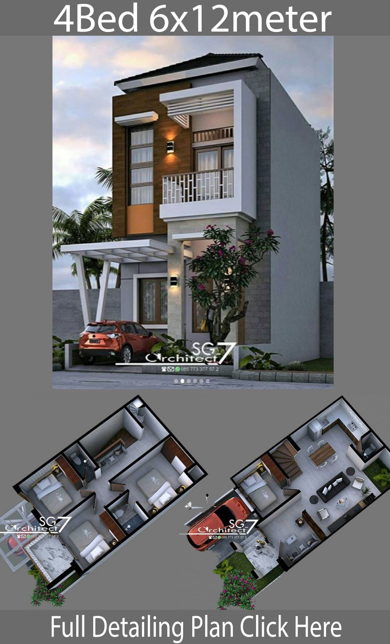 4 Bedrooms Home Design Plan 6x12m Home Ideas Minimalist House Design Small House Design Plans Home Design Plan