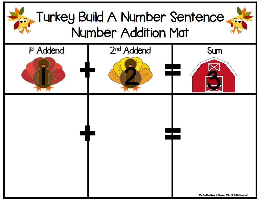 Turkey Build 2 Addend 0 20 Addition Amp Subtraction Number