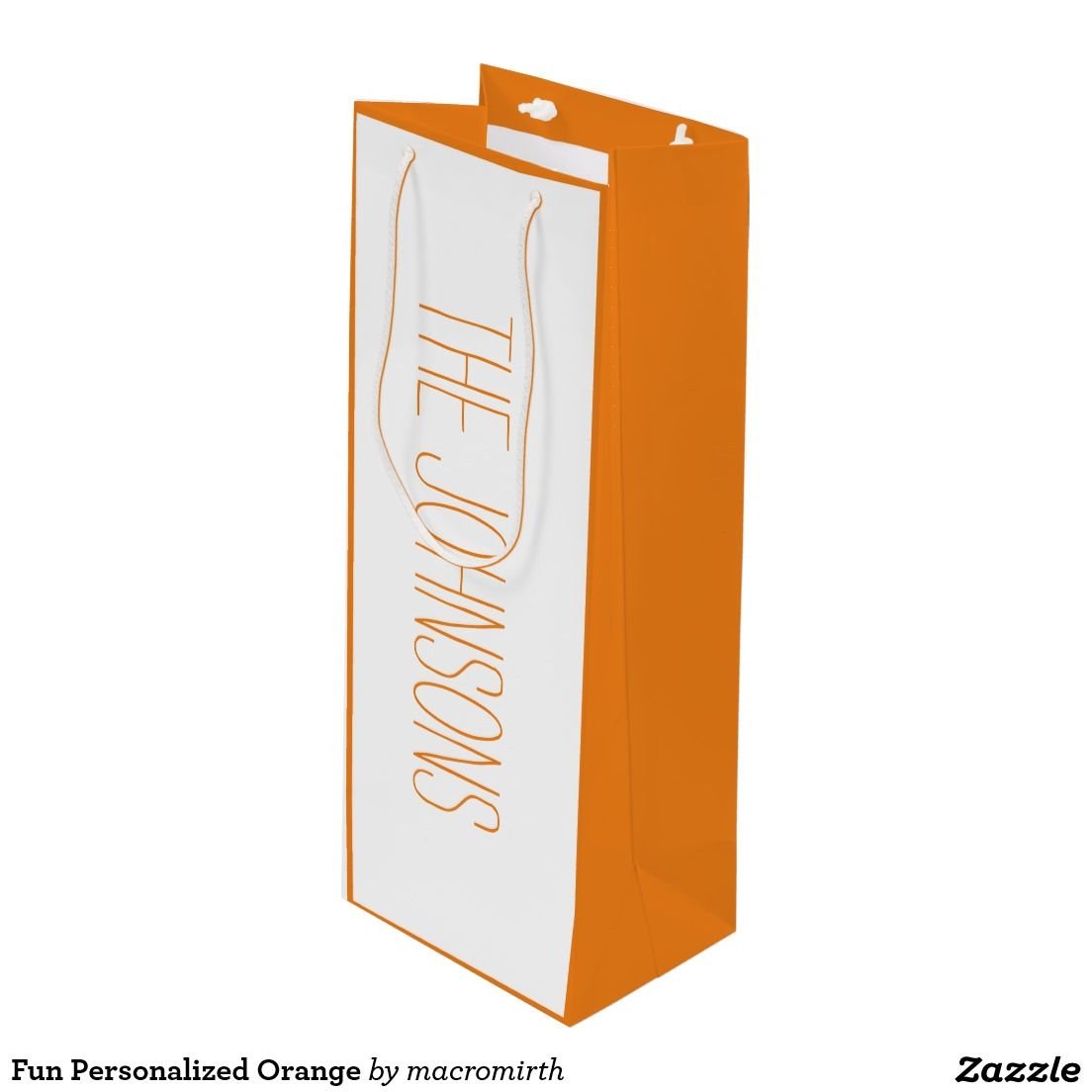 Fun Personalized Orange Wine Gift Bag Wines And Contemporary