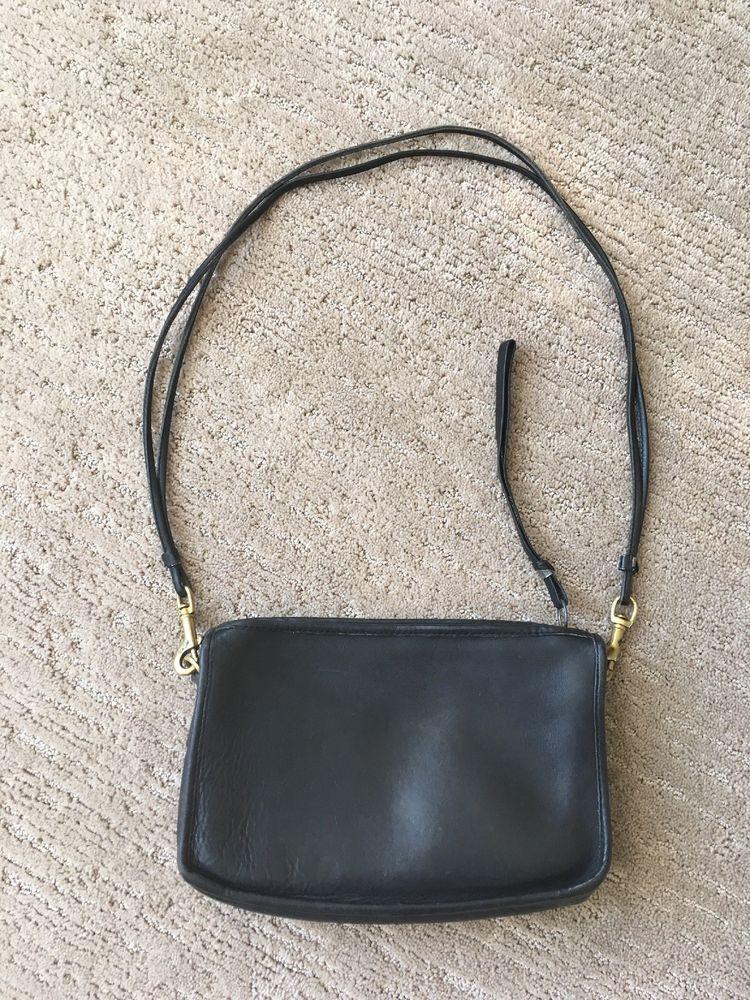 Vintage Coach Black Leather Handbag Bag Purse Made In New York City Crossbody