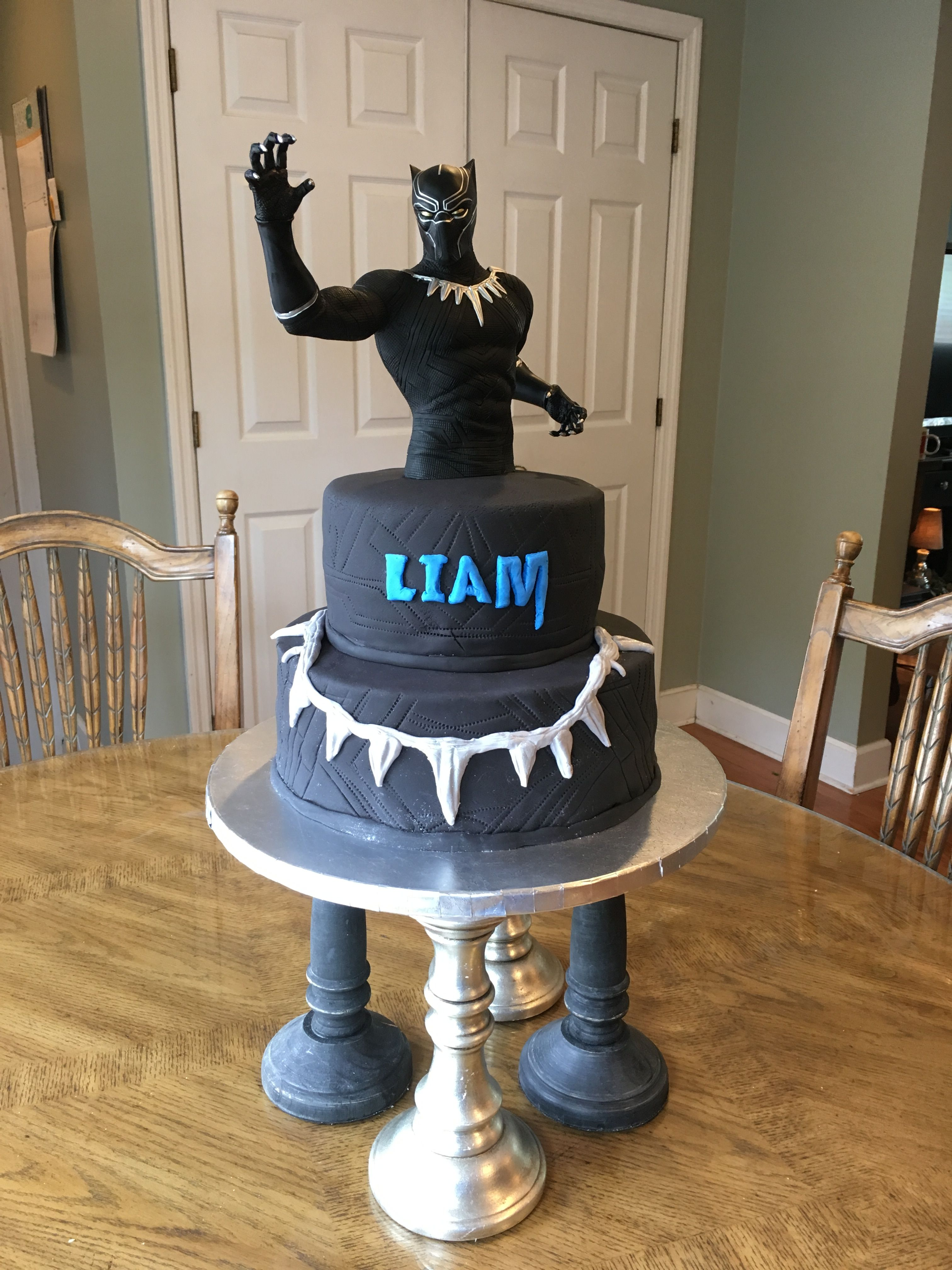 Black Panther Birthday Cake Wasc With Buttercream And Fondant