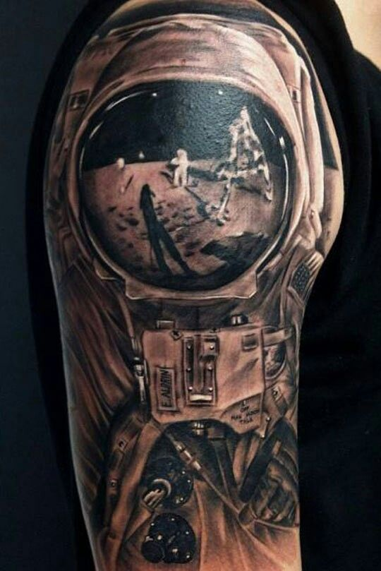 Sick Moon Landscape Reflected In Astronaut S Helmet Tattoo