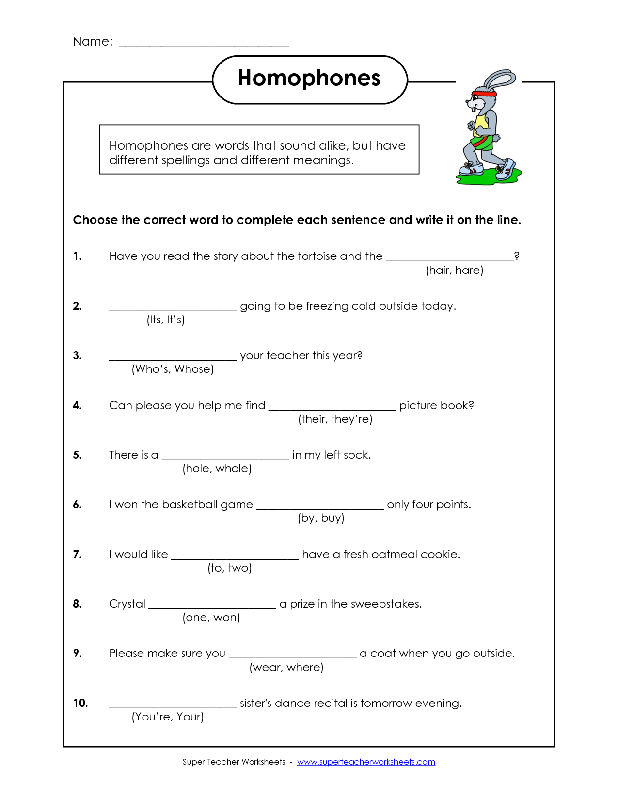 Worksheet Homophones Homonyms