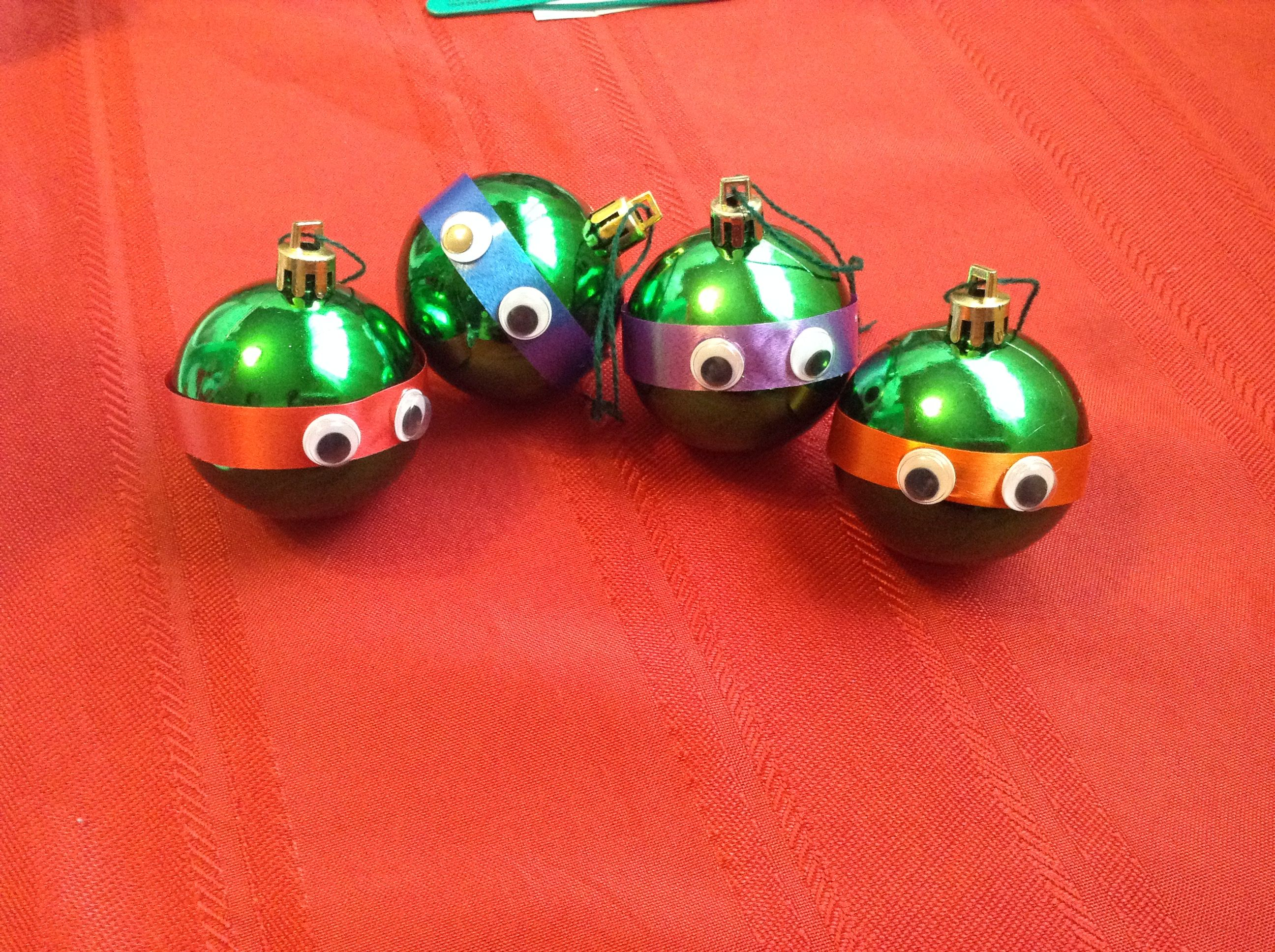 Ninja turtle ornaments. Easy project. Got ornaments that were ...