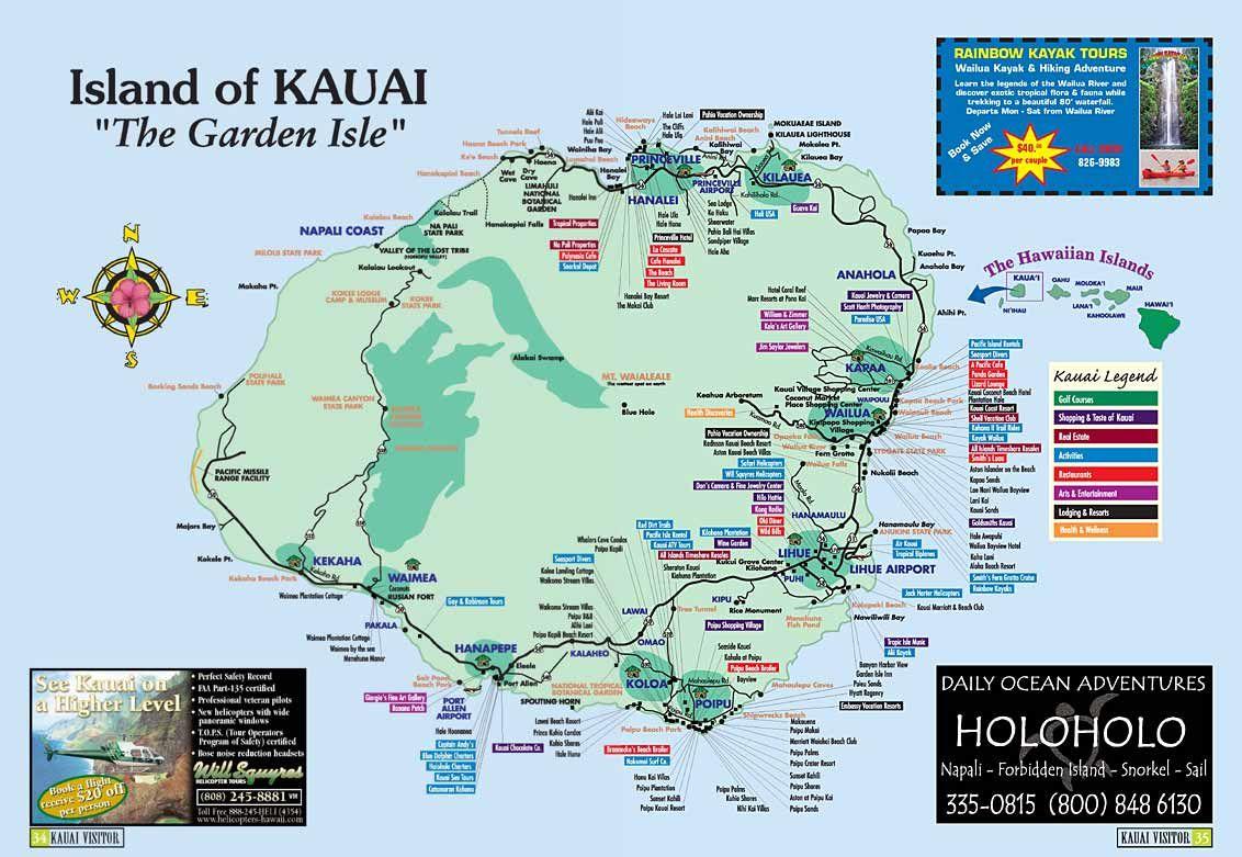 map of kauai | Kauai Island, Hawaii Tourist Map See map
