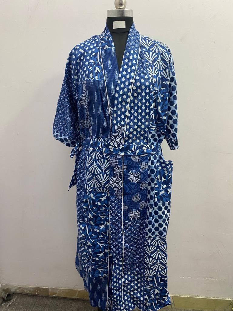 Floral Print Nightgown Hand Block Printed Long Kimono Intimate Sleepwear Bridal Dressing Gown Indian Handmade Long Body Crossover