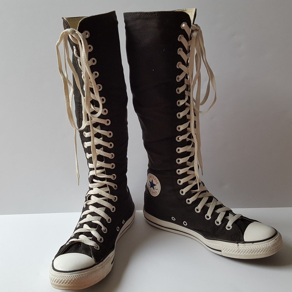 5ed338a76eb CONVERSE Chuck Taylor Black Knee High Sneakers Lace Up Front Back Zip  Women s 10  Converse  KneeHigh