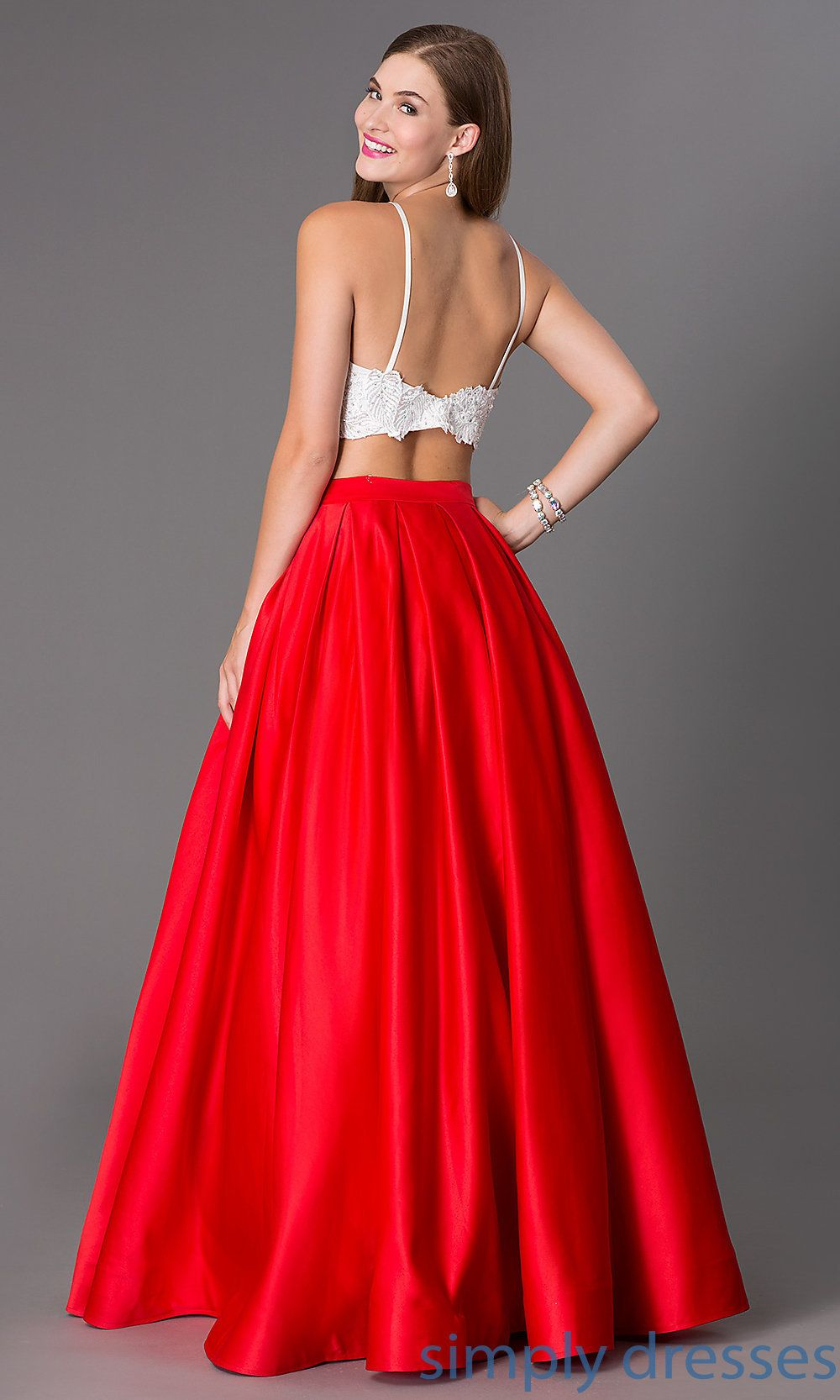 DJ-1435 - Two-Piece Ivory Lace-Top Ball Gown | Shops, Prom dresses ...