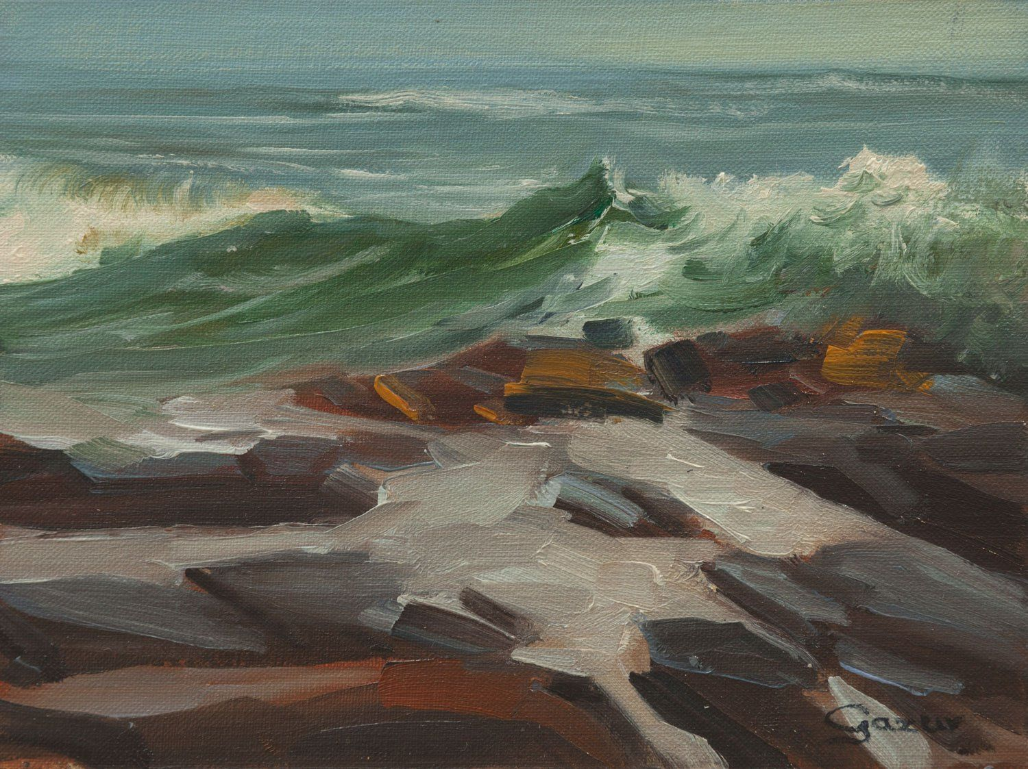 "Leffingwell Cove Wave in Cambria 6x8. 6"" x 8"" (15.2 cm x 20.3 cm) oil on linen, ocean painting of Leffingwell Cove Wave, near Moonstone Beach in Cambria, California."