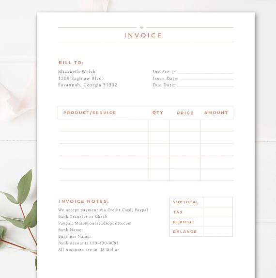 Invoice Template for Photographers, Photography Invoice Receipt Form