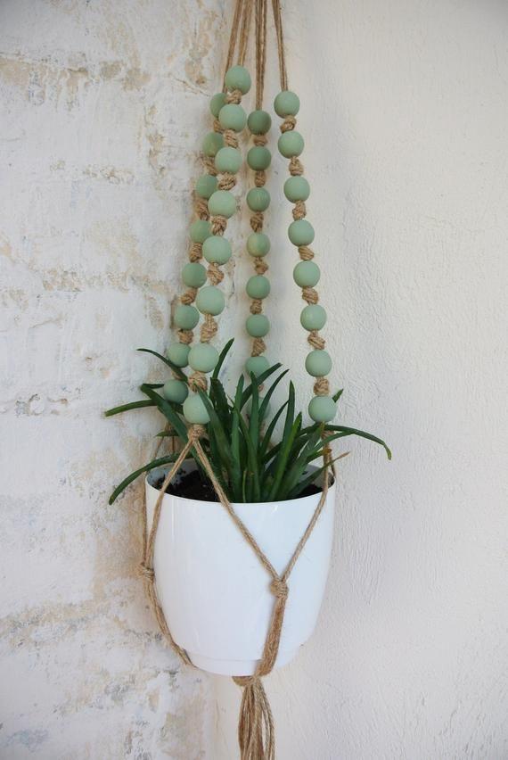Beaded plant hanger. Modern plant hanger. Plant hanger. Hanging plant holder