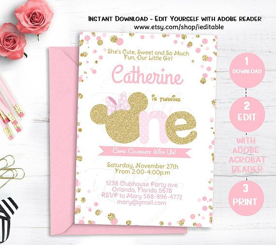 Pink and gold minnie mouse birthday invitation polka dot ophelias pink and gold minnie mouse birthday invitation polka dot filmwisefo