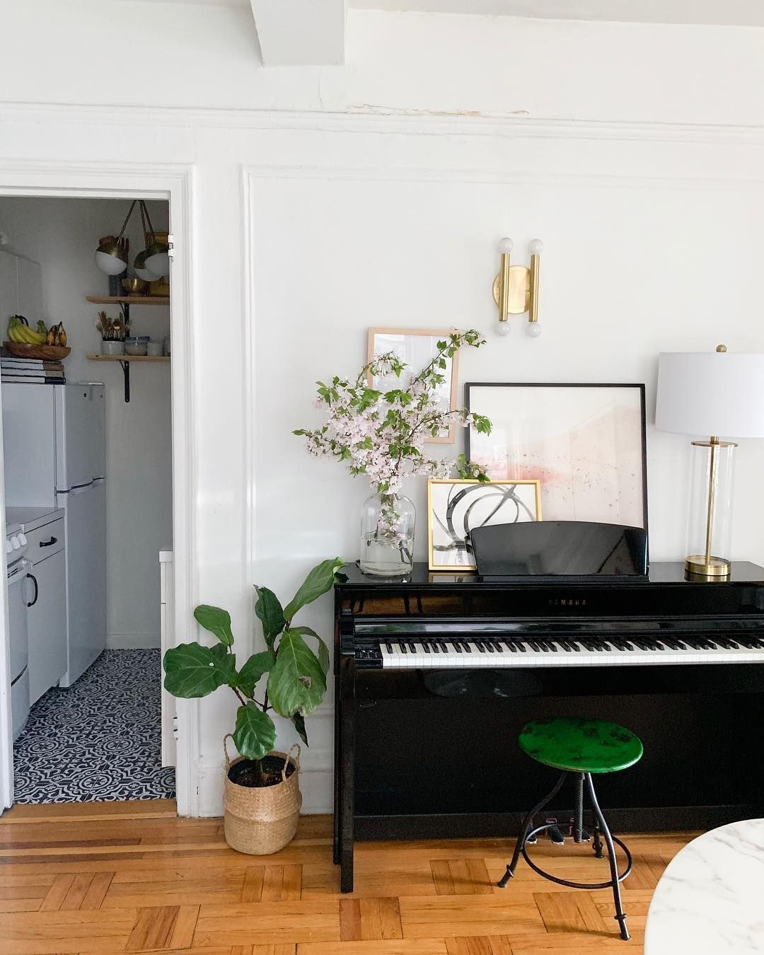 C R Y S T A L On Instagram We Almost Put A Buffet Cabinet Here And Then Tay Surprised Me With A Piano Piano Living Rooms Piano Room Decor Home Music Rooms Living room ideas piano