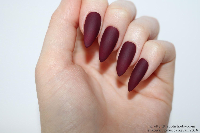 Matte burgundy stiletto nails, Halloween nails, Fake nail, Stiletto ...