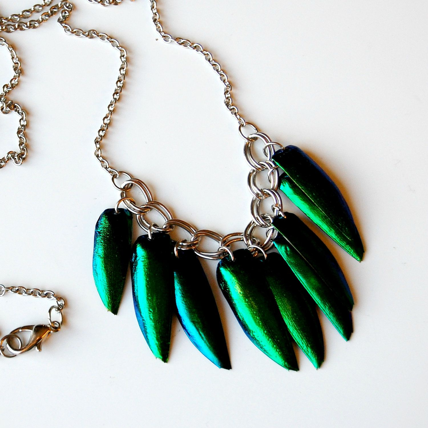 ELYCTRA metallic jewel beetle wing necklace in silver.