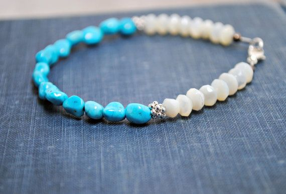 Turquoise Nugget Thin Bracelet Stacking Bracelet by SidandElla, $24.00