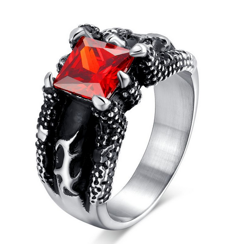 Retro Ruby Men's Ring - Dragon's Claw