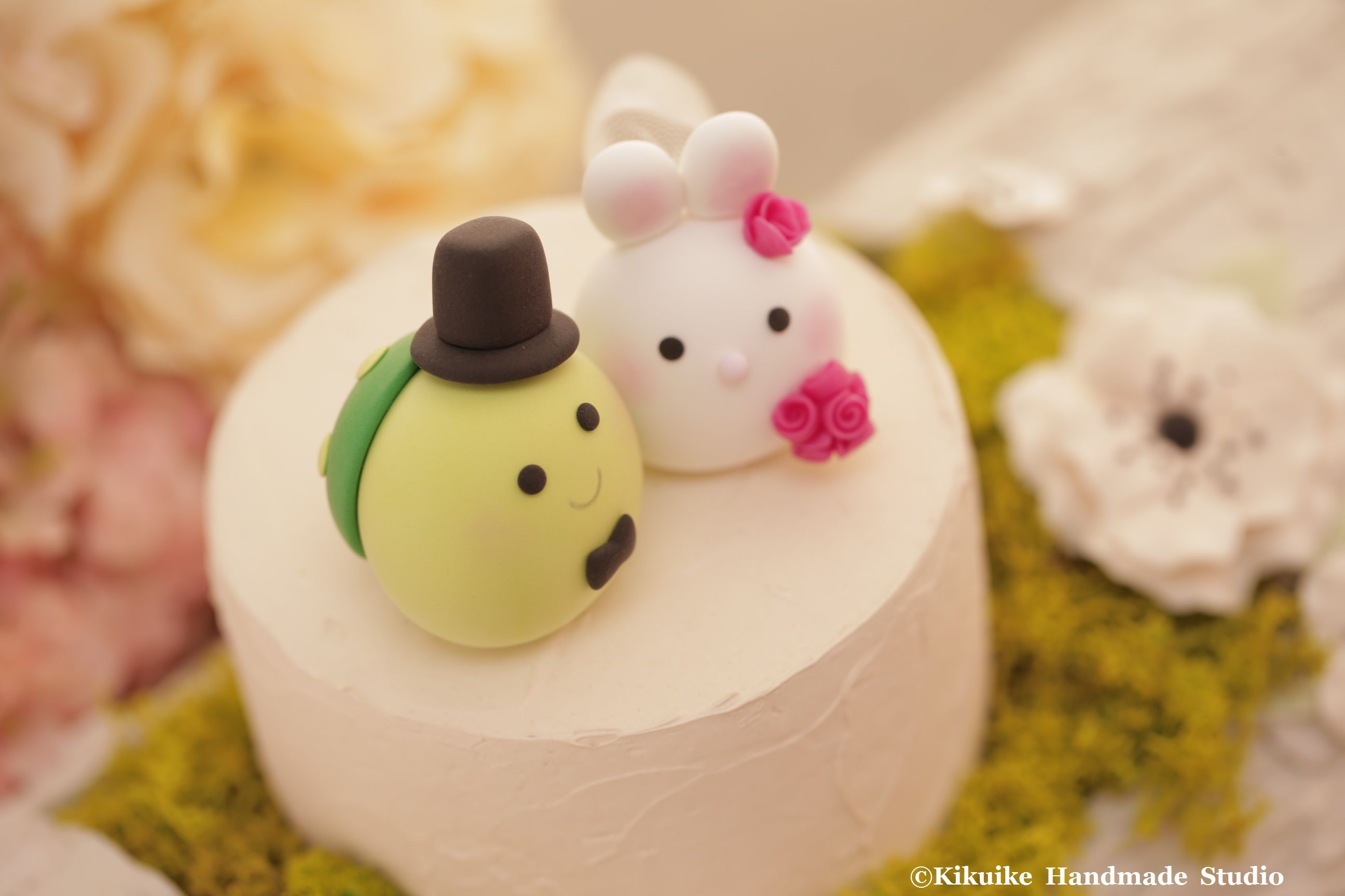 Bunny, Rabbit and Turtle wedding cake topper | MochiEgg cake topper ...