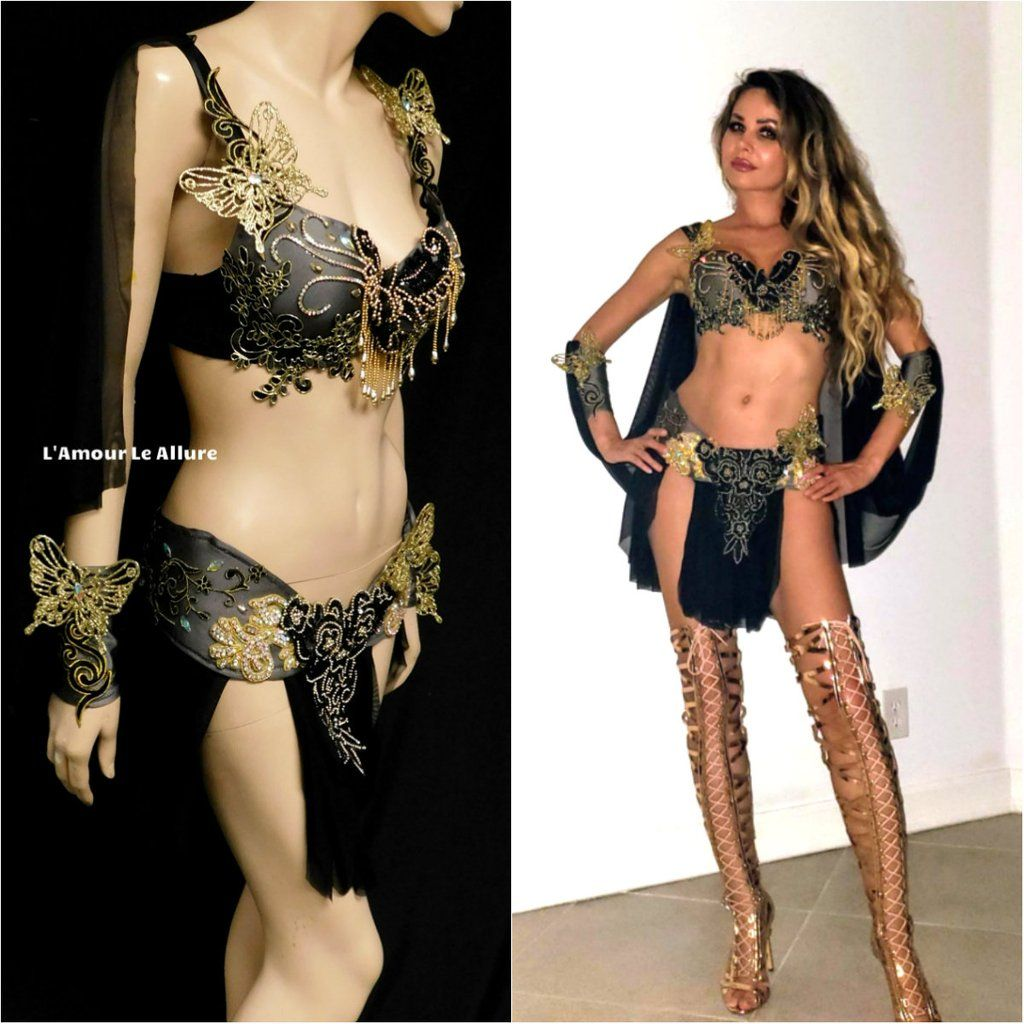 Photo of Black and Gold Butterfly Goddess Fairy Costume Dance Rave Bra Cape and Skirt