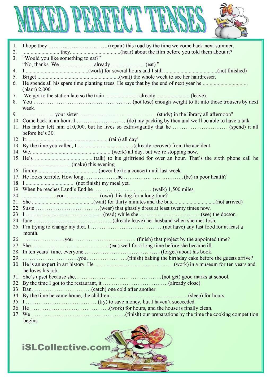 Mixed Perfect Tenses Perfect Tense English Phrases English Tenses Exercises [ 1440 x 1018 Pixel ]