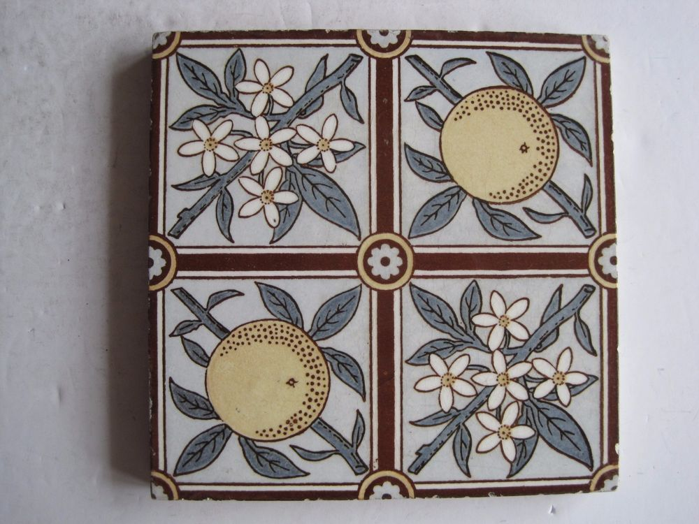 Antique Victorian Mintons Transfer Print Tile Oranges And