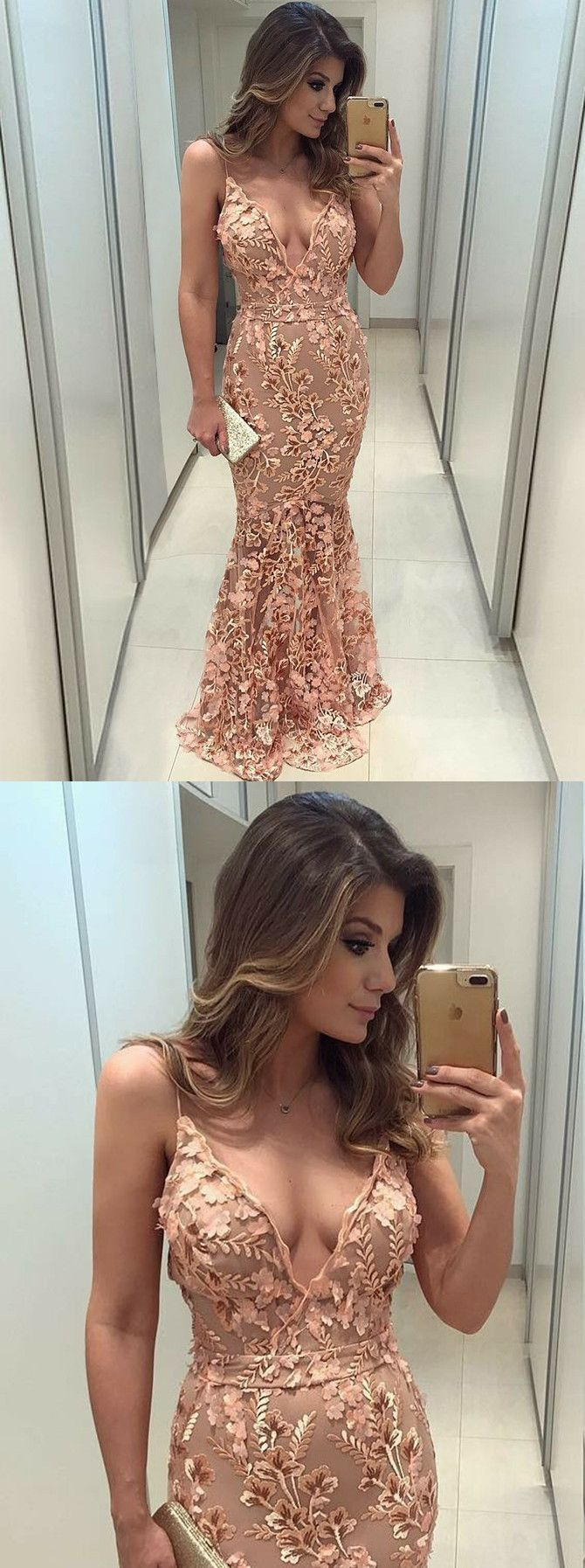 chic mermaid lace spaghetti straps prom dresses pink long prom