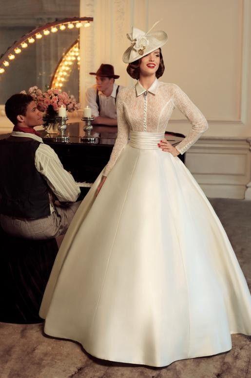 2016 Vintage Wedding Dress High Neck Long Sleeves Sheer Lace Bodice Sati Wedding Dresses Vintage 20s Long Sleeve Ball Gown Wedding Dress Long Sleeve Ball Gowns