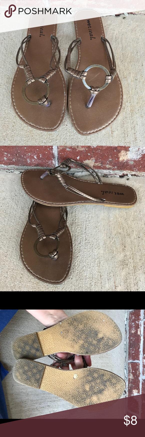 Wet Seal Bronze Flip Flops Great Condition-So Cute Wet -1078