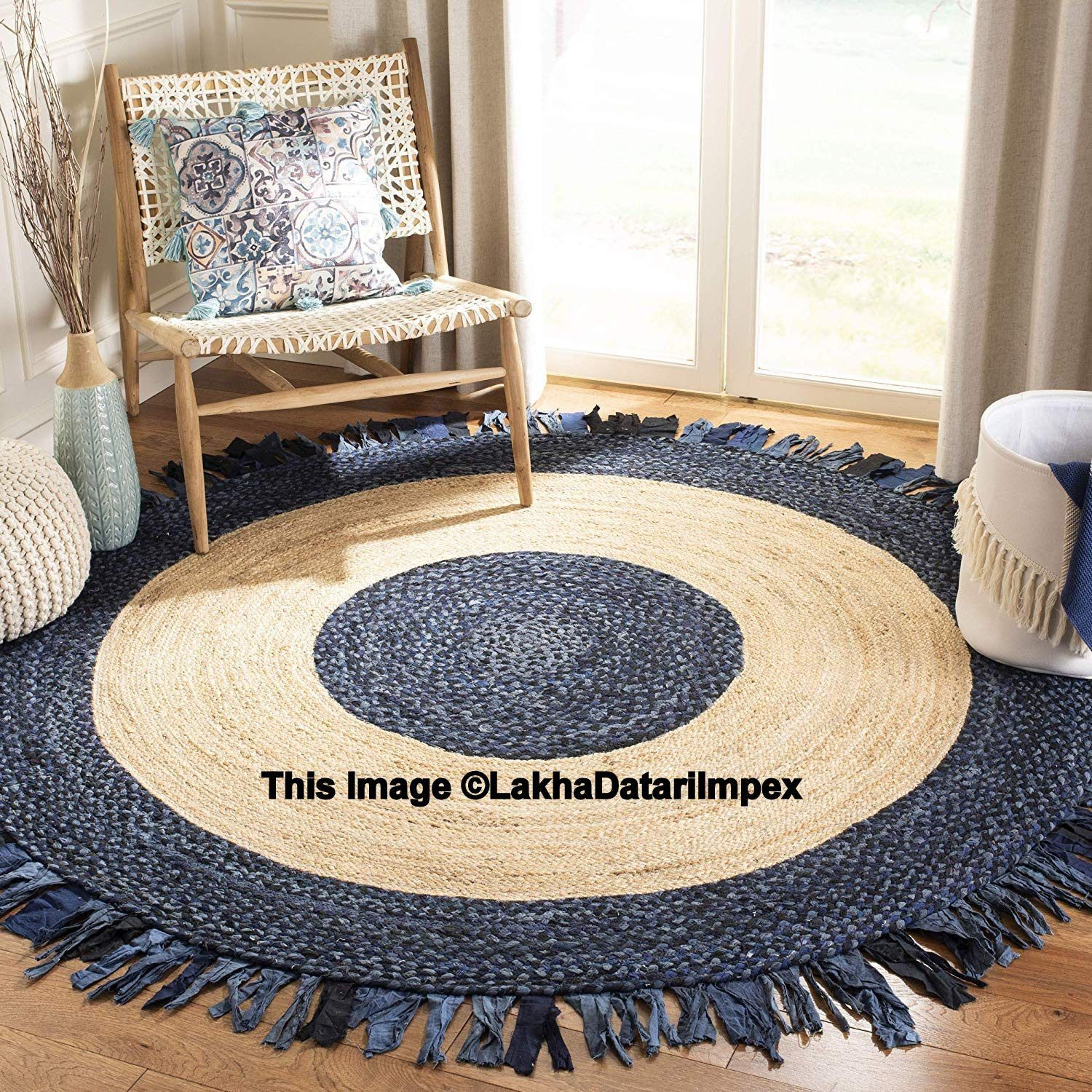 Indian Vintage Area Round Meditation Mat Decor Natural Antique