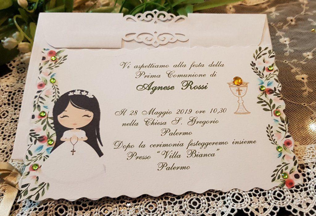 Invito Prima Comunione Personalizzato Bimba Prima Comunione Comunione Bomboniera