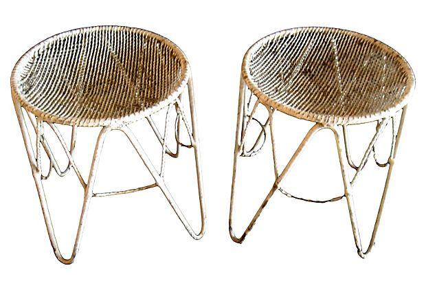 1950s French Iron Stools,  Pair on OneKingsLane.com