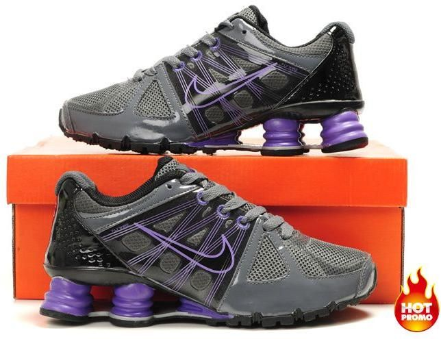 Womens Nike Shox Agent Grey Purple Black1