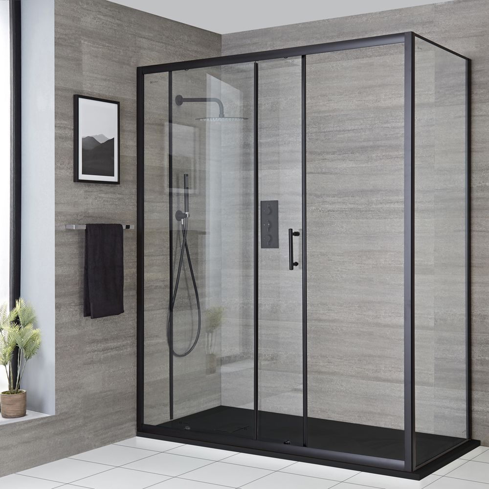 Milano Nero Black Corner Sliding Door Shower Enclosure With Slate Tray Choice Of Sizes In 2020 Shower Doors Sliding Shower Door Shower Enclosure