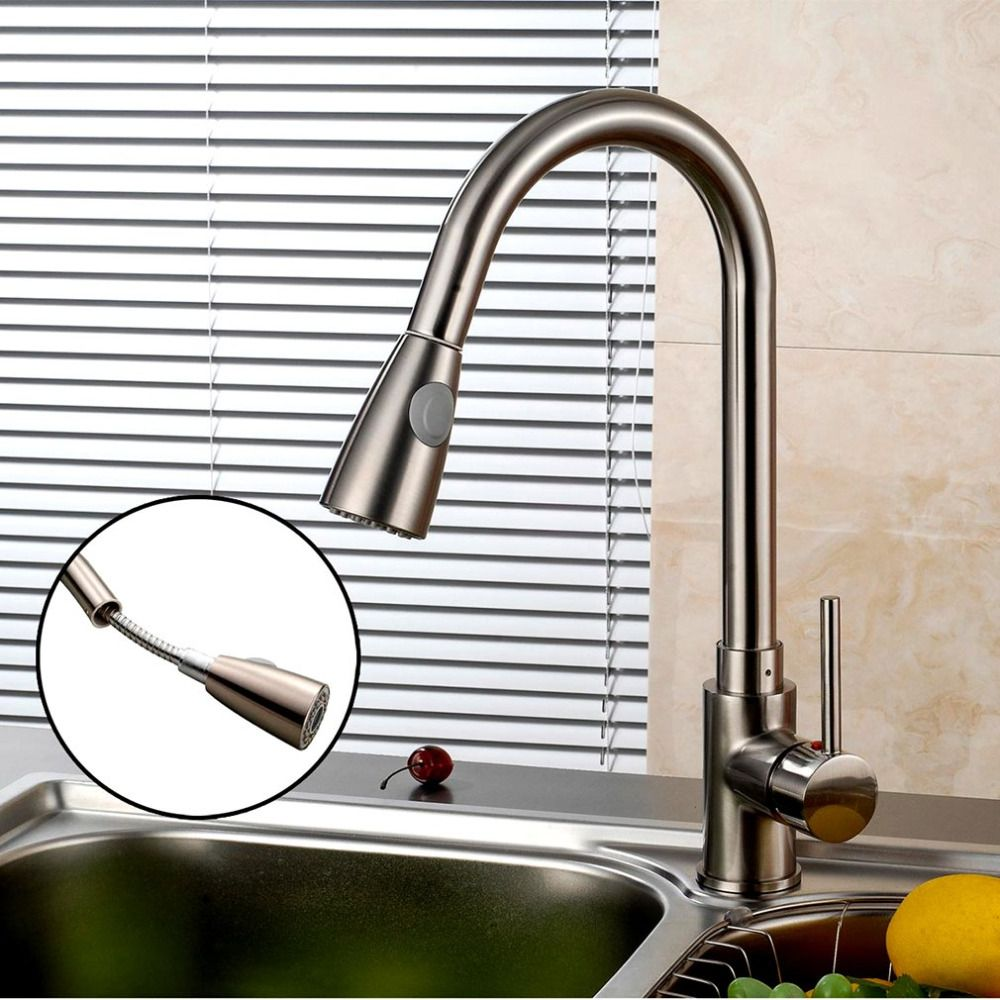 Pull Out Spray Brushed Nickel Finish Kitchen Sink Faucet One Handle Spout Spray Swivel Ceramic Kitchen Sink Faucets Sink Faucets Brushed Nickel Kitchen Faucet
