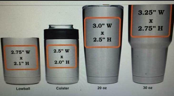 Imprint Sizes For Yeti Cups Diy Cricut Cricut Vinyl Cricut Tutorials