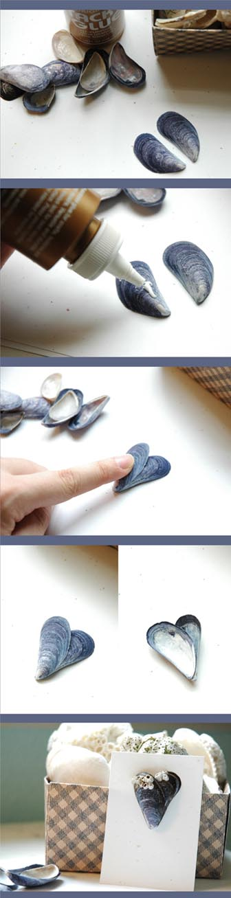 Super Easy Mussel Shell Hearts Shell Crafts Mussel
